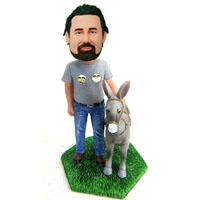 custom bobblehead man and donkey