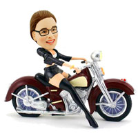 custom female motor biker bobbleheads