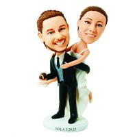 custom made bobblehead bride jump on groom