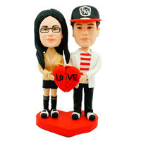 custom made bobblehead couple red heart
