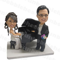 custom made bobblehead pianist couple