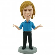 Custom bobblehead marketing executive / elocutionist in bule shirt and black suit pants