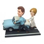custom couple pushing car bobbleheads
