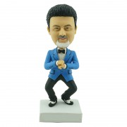 Wearing a blue suit with a hat custom gangnam style bobblehead