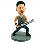 With rock an roll steps the guitarist lift his voice and sing loud custom bobblehead