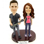 custom guitarist couple bobblehead
