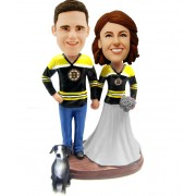 custom hockey fans bobblehead with a dog