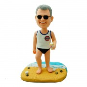 Walking along the sand beach with a tin of beer in his hand custom sandbeach bobblehead