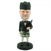 Scottish bagpiper dressed in conventional dress tartan custom bobblehead