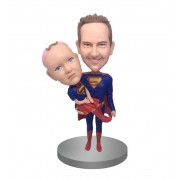 custom super dad and super kid bobbleheads