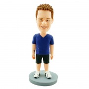 V-neck mazarine T-shirt and black shorts custom leisure man bobblehead
