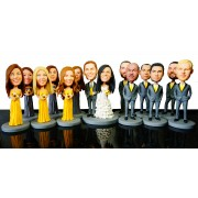 custom wedding cake topper  bridesmaids  groomsmen bobblehead
