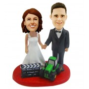 custom wedding cake topper film and truck theme