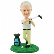 Balanced and graceful golfer swing a golf stick custom bobblehead