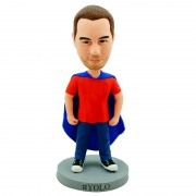 Wearing a blue cloak with casual dress custom super man bobblehead