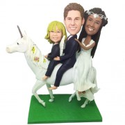 custom family bobbleheads ride on a horse
