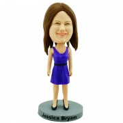 Casual mom in blue one-piece dress custom bobblehead