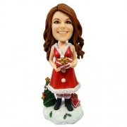personalised christmas bobble head lady with gift