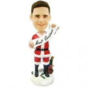 personalised christmas bobble head male with merry christmas banner