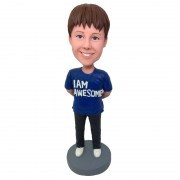 personalised kid bobblehead in blue T-shirt