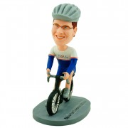 Dressed in racing suit and helmet riding on the bicycle custom cyclist bobblehead dolls