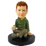 personalized green sweater boy bobblehead